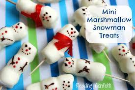 snowman marshmallows mini marshmallow snowman treats reading confetti