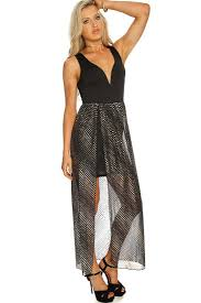 sexi maxi dresses womens clothing party dresses black gold shimmer overlay slit maxi