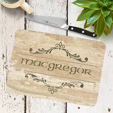 personalized glass cutting board macbean shield plaque with scottish clan coat of arms badge on