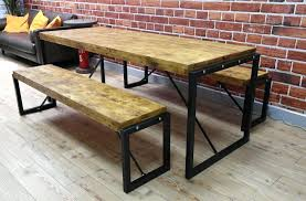 Bench Style Dining Tables Industrial Style Dining Tables Aciarreview Info