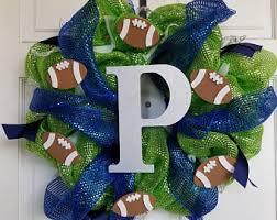 seahawk ribbon mesh ribbon wreath etsy