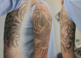 awesome grey japanese wave tattoo on half sleeve and chest photo