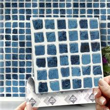 8 stick u0026 go blue self adhesive stick on wall tiles for kitchens
