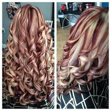 curly hair with lowlights blonde highlights red lowlights hair colors ideas