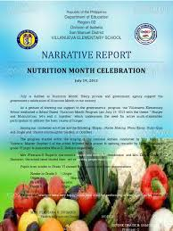 sample essay about food narrative report on nutrition month