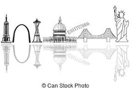 drawing of cutout city skyline illustration of a simple 3