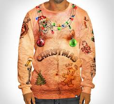 christmas sweater chest and tattoos christmas sweater