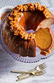 cinnamon swirl bundt cake with salted coffee caramel sauce