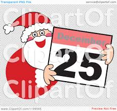 clipart santa smiling and holding a december 25 calendar royalty