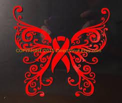 awareness ribbon fancy butterfly design window by directvinyl