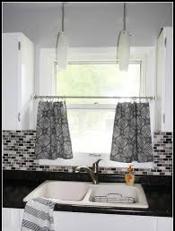 White Cafe Curtains Kitchen Sheer Kitchen Curtain Panels And White Kitchen