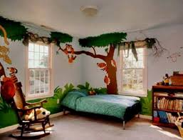 bedroom fantastic zoo wall painting room with blue comforter
