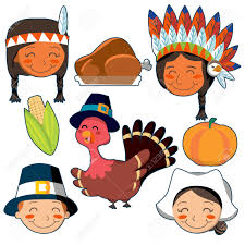 american thanksgiving set of native american pilgrim faces and thanksgiving elements