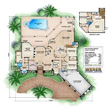 2 story mediterranean house plan outdoor kitchen covered lanai pool