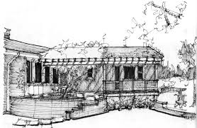 sketch study for a deck and trellis kent johnsson architect pllc