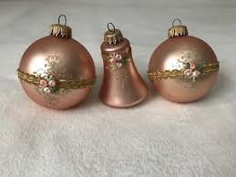 vintage copper tone glass ornaments ribbon floral accents lot of 3