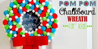 holiday pom pom chalkboard wreath design dazzle