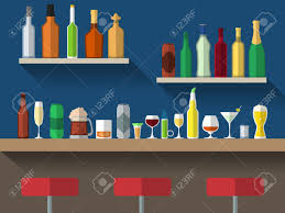 Bar Counter Bar Counter With Stools And Alcohol Drink On Shelves Flat Vector