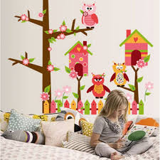 tree wall sticker with fence owls and birdcage