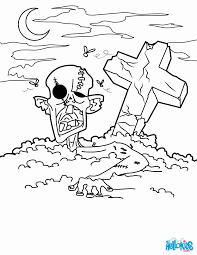 halloween monsters coloring pages zombie graveyard