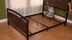 Wood And Metal Bed Frames Metal Bed In Cocoa Finished Wood Black Metal Framing