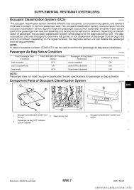 2002 nissan maxima crash zone sensor nissan 350z 2007 z33 supplemental restraint system workshop manual