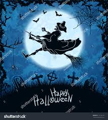 blue halloween background ugly witch flying over cemetery blue stock vector 114135139