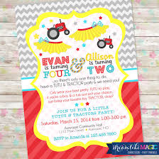 tutus and tractors invite brother and sister birthday idea