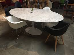oval dining room tables saarinen inspired oval marble dining table old bones furniture company