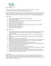 Medical Office Assistant Resume Medical Office Assistant Job Description For Resume Resume For