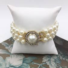 pearl clasp bracelet images 3 strand pearl bracelet with diamond and pearl clasp 330 00025 jpg