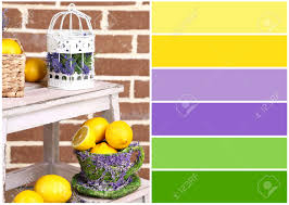 still life with fresh lemons and lavender color palette with
