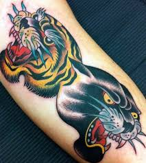 tiger and panther traditional two heads traditional tattoos