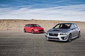 subaru cars 2014 2014 ford focus st vs 2015 subaru wrx comparison motor trend