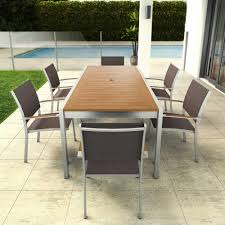 Steel Patio Chairs 7 Eucalyptus And Stainless Steel Patio Set Outdoor Artika