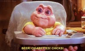 Baby Sinclair Meme - beers cigarettes chicks baby sinclair know your meme