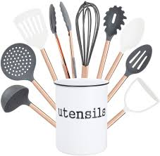 how to accessorize a grey and white kitchen cook with color 10 cooking utensil set with holder kitchen tools and gadgets with rounded copper handles gray and white