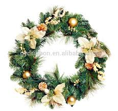 artificial pvc wreath with flowers as tree decoration
