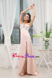 pink beaded straps brush train prom gown with high slit
