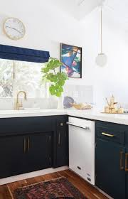 black kitchen cabinets with white appliances kitchen after emily henderson blue white brass appliances great