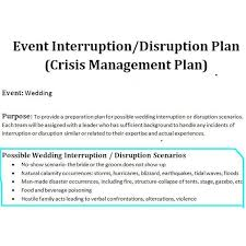 preparation of event plan for wedding sle of a crisis management plan for wedding events wedding
