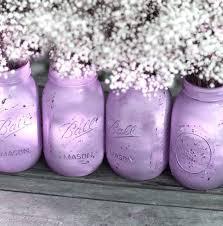 Mason Jar Wedding Decorations Lilac Weddings Distressed Mason Jars Painted Glass Jar Wedding