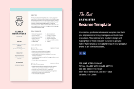 babysitting resume templates resume template resume templates creative market