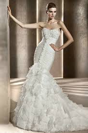 cathedral train mermaid white wedding dress with ruffles buy cheap