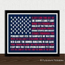 star spangled banner us national anthem typography art print