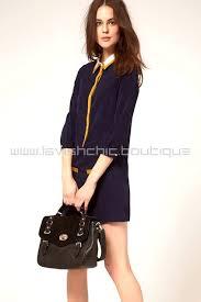 preppy navy blue dress with collar