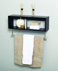 cool black metal wooden towel shelf on light blue bathroom wall
