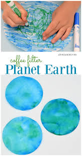 coffee filter planet earth craft for kids about a mom