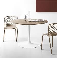 table ronde cuisine pied central table ronde design plateau bois pied blanc cdc design