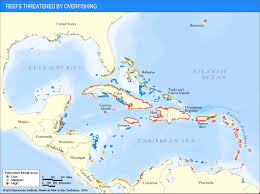 Map Caribbean by Caribbean Threatened Reef Map Caribbean U2022 Mappery